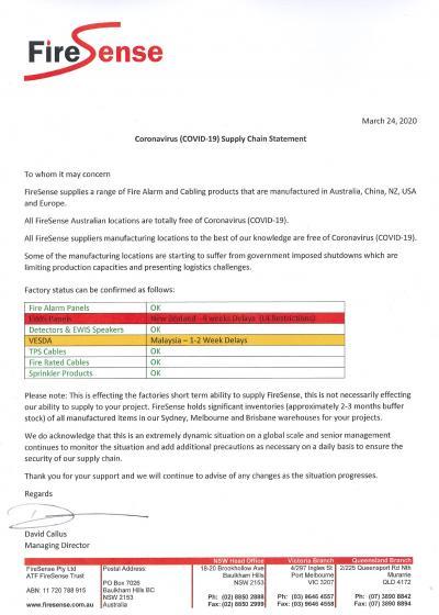 FireSense - COVID-19 Supplier Chain Update